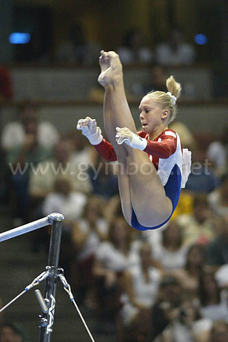Hollie Vise performed on bars and beam at the 2003 World Championships in Anaheim.